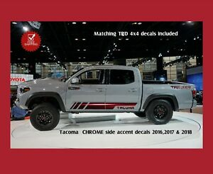 Toyota Tacoma Double Cab Chrome Side Graphic Vinyl Set Fits 2016 2018