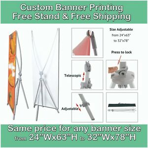 Custom Banner Printing Free Tripod Stand Free Shipping Trade Show Store Front
