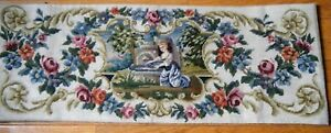 Antique Berlin Woolwork Petipoint Needlepoint Tapestry Hand Ctitched Panel19c