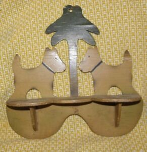 Mid Century Modern Wooden Dog Shelf With Tree In The Center Rare Piece With Age