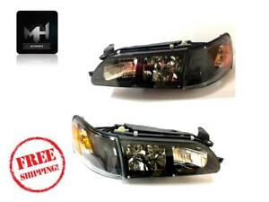 93 97 Toyota Corolla Dx Euro Style Black Headlights Headlamps Clear Lens 1993