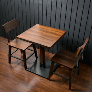 24 Square Antique Walnut Brown Solid Wood Restaurant Dining Table With 2 Chairs