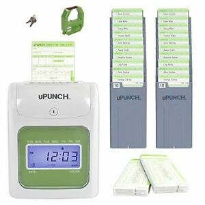Upunch Hn3500 Time Clock Bundle With 100 cards And Two 10 slot Card Racks