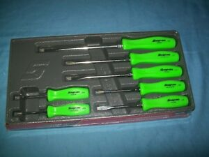 New Snap On Green Hard Handled 7 Piece Screwdriver Set Sddx70ag Sealed