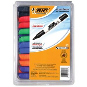 Bic Great Erase Grip Low Odor Dry Erase Markers Xl Chisel Tip 30 count