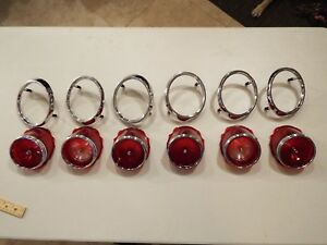 65 1965 Chevy Impala Caprice 4 Tail Lights 2 Backup Lens 6 Chrome Bezels