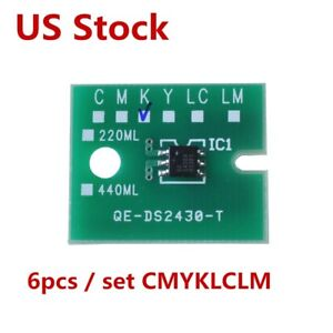 Us 6pcs set Cmyklclm Permanent Roland Xc 540 Xj 640 Eco Solvent Max2 Chips