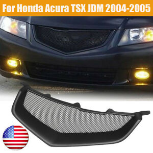 Us Black Front Sport Mesh Grill Grille Bumper For Honda Acura Tsx Jdm 2004 2005