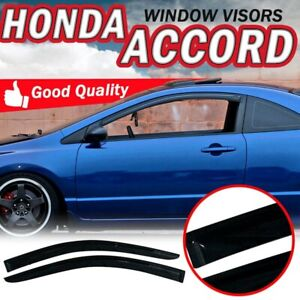 For 03 07 Honda Accord Coupe 2dr Acrylic Smoke Slim Style Tape On Window Visors