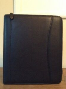 Classic Black Leather Franklin Covey Planner Organizer Zip Binder 7 Rings 1 1 4