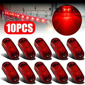 Red Led 2 5 2 Diode Light Oval Clearance Trailer Truck Side Marker Waterproof