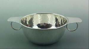 Antique English Stylish Solid Silver Quaich Bowl By Liberty