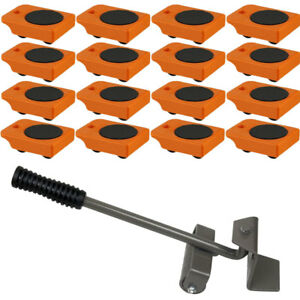 16pc Mover Rollers With Handle Furniture Appliances Roll With Ease 4 X 3