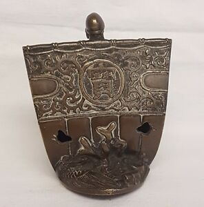 19th Century Japanese Ship Statues Bronze Lid Incense Burner