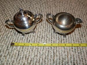 Vintage Fb Rogers Silver Plated Cream And Sugar Bowl With Lid
