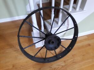 Antique Farm Tractor Steel Wheel 30 Diameter Old Vintage Table Crafts Decor