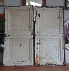 Pair Architectural Antique Salvaged American Tin Ceiling Tile Ohio Vintage Old