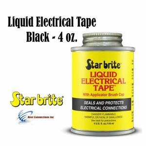 Liquid Electrical Tape Black 4oz W Applicator Brush Cap Starbrite 84104
