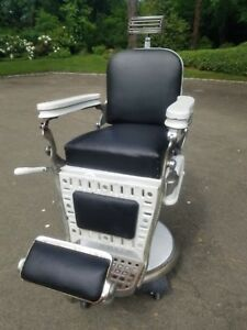 Antique Barber Chair Emil J Paidar With Headrest Porcelain And Leather
