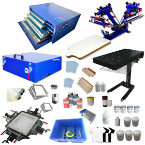 Full Set 4 Color Silk Screen Printing Kit With All Press Machine