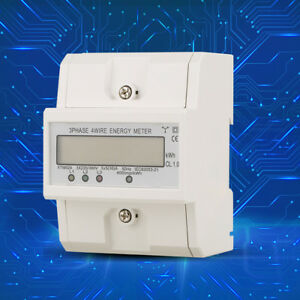 Din Rail Electronic Energy Kwh Meter 3 phase 4 Wire 4p Electric Meter 3x220v Ark