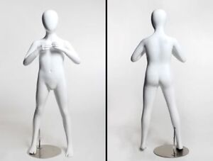 Children s Full Body Mannequin 10 Year Old Egg Head Glossy White Fiberglass
