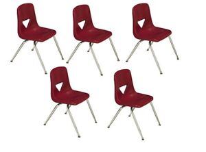 Scholar Craft Student Stacking Chairs Small Burgundy Set Of 5