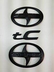 3 Pcs Scion Black Matt Emblem Badge Sticker Decal Tc Trunk Grill New 2011 2016