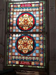 Beautiful Early To Mid 1800 S Large Stained Glass Architectural Windows