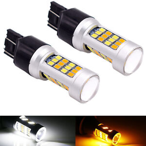 2x 3157 7443 Cree White Amber Dual Color Switchback Led Turn Signal Light Bulbs