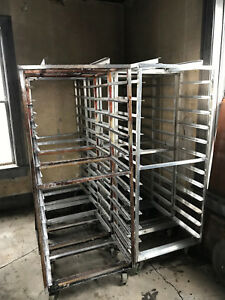 Aluminum Hobart Revent B Lift 12 Slide Side Load Sheet Pan Bakery Rack Oven Cart