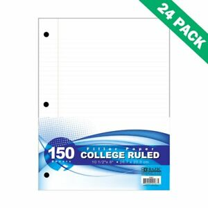 White Filler Paper Bazic College Ruled Filler Notebook Paper 150 Ct 24 Units