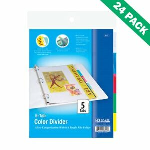 Ring Binder Dividers Colorful 5 tab Divider For 3 Ring Binder 24 Pack