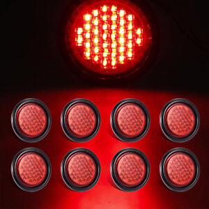 8 4 Round Red Clearence Trailer Rubber Mount Stop turn tail Brake Light Sealed