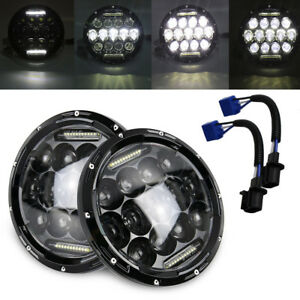 2pc 7 Inch Round Led Headlight Hi lo Fit 1997 2017 Jeep Wrangler Cj Tj Jk