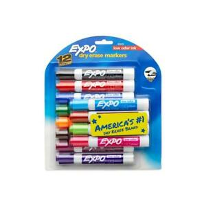 2 Packs Of 12 Expo Low Odor Chisel Tip Dry Erase Colored Markers 80699 New