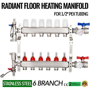 6 branch Pex Radiant Floor Heating Manifold Set Stainless Steel For 1 2 Pex