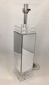 Mid Century Modern Retro Lucite And Mirrored Table Stack Lamp Rectangular 24