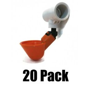 20 Poultry Pvc Drinker Plastic Cups 1 2 Tee W Low Pressure Automatic Float