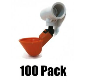 100 Pack Poultry Water Drinking Cups chicken Hen Automatic Drinkers Pvc Fittings