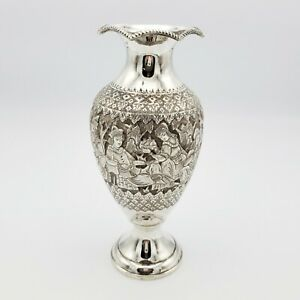 Chased Persian Silver Vase Pastoral Scenes A