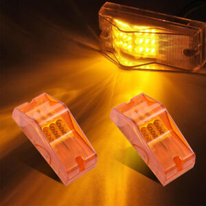 2x Amber 18led Turn Clearance W Reflector Side Marker Light For Freightliner Cab