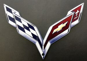 Corvette C7 Crossed Flags Metal Emblem Sign Magnet 6 X 4