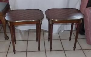 Pair Of Mahogany Rosewood Inlaid End Tables Side Tables T718