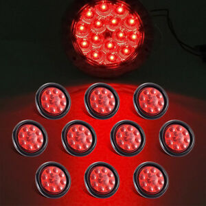 10pcs 4 Round Red Truck Trailer Tail Stop Turn Signal Light Clearence Led 12v