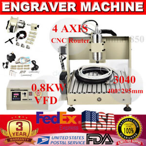 4 Axis 3040 800w Cnc Router Engraver Engraving Milling Carving Machine Vfd Mach3