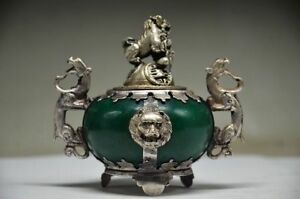 Delicate Chinese Silver Dragon Inlaid Jade Handmade Carved Lion Incense Burner