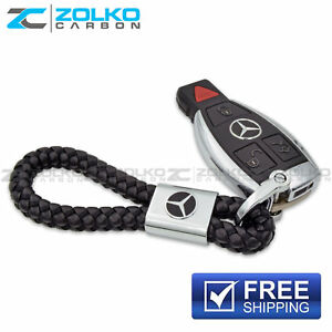 Keychain Key Chain Ring Black Leather For Mercedes Benz Ee08 Us Seller