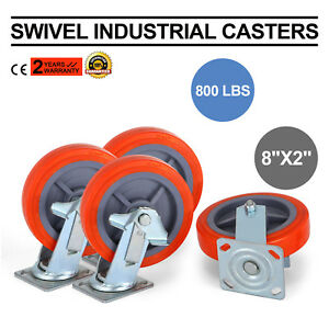 4 Pack 8 Swivel Casters Polyurethane Wheel Furniture Trolley Construction