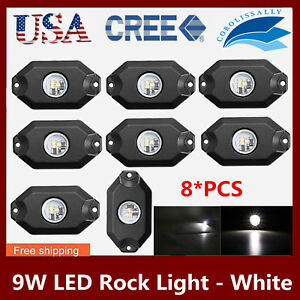 8x 2 9w White Offroad For Jeep Led Under Body Rock Light Atv Truck 4wd Bright